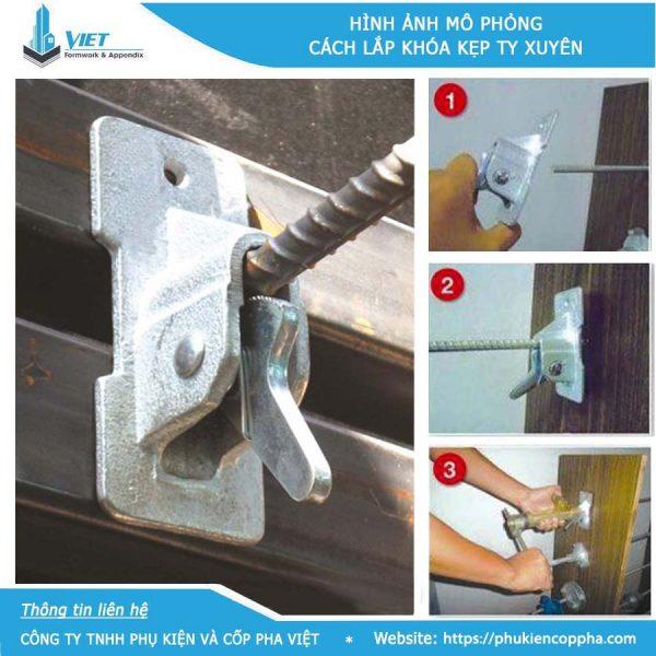 hình ảnh mô phỏng cách lắp dựng khóa kẹp ty xuyên