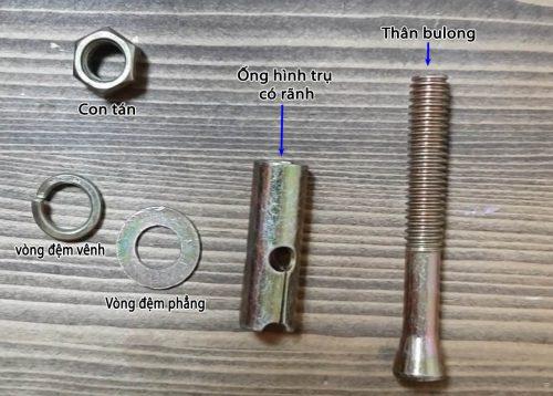 Cấu tạo tắc kê sắt M6x50